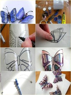 - Bottle Crafts - Make Butterfly Decorations Using Plastic Bottles - Find Fun Art Projects to Do a. Make Butterfly Decorations Using Plastic Bottles - Find Fun Art Projects to Do at Home and Arts and Crafts Ideas. Water Bottle Crafts, Plastic Bottle Flowers, Plastic Bottle Crafts, Recycle Plastic Bottles, Plastic Pots, Cool Art Projects, Arts And Crafts Projects, Crafts For Teens, Crafts To Sell
