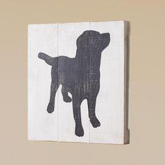 24x24 Black Laborador Retriever Dog Wood Wall Painting