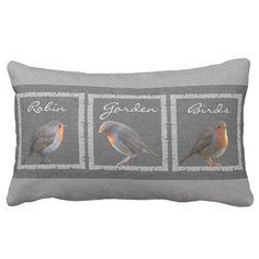 Vintage Robin birds, rustic dark gray burlap Lumbar Pillow