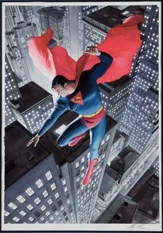 Superman | Artist: Alex Ross. Modern revisioning of a classic Golden Age image.