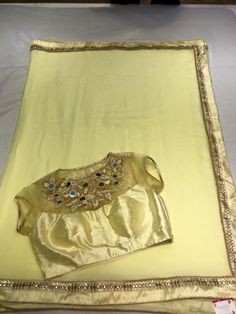 Here is the exclusive fancy chiffon sarees with small mirror work patch border paired with designer blouse.In this c...