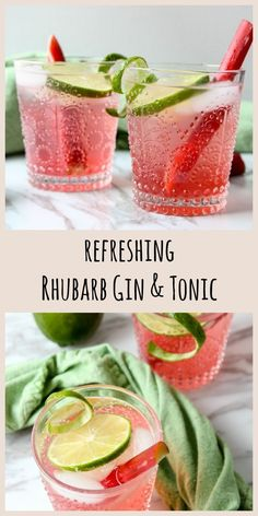 Rhubarb adds a bright note of spring to this deliciously refreshing Gin & Tonic Cocktail. recipes cocktails & Tonic recipes cocktails Rhubarb adds a refreshing tartness to a classic G & T Gin Tonic, Tonic Cocktails, Cocktail Gin, Rhubarb Cocktail, Gin Cocktail Recipes, Alcohol Drink Recipes, Wine Cocktails, Refreshing Cocktails, Fancy Drinks