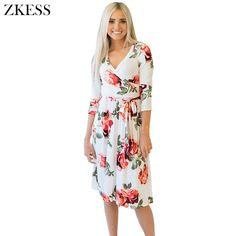 Zkess Women Blossom Floral Print Midi Dress Fashion Boho V Neck 3/4 long Sleeves Knee Length Pleated Dresses LC61682 #Affiliate