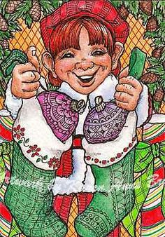 Original ACEO Christmas Stocking Elf zentangle ornaments art by Karen Anne Brady