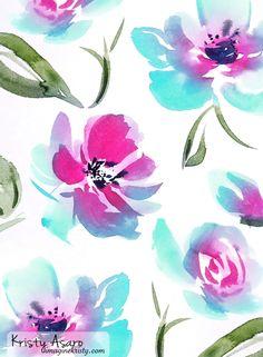 Floral Watercolor Pattern | Kristy Asaro