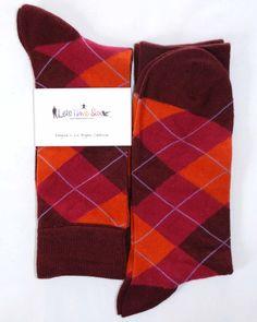 Maroon Orange Dark-Pink Argyle Mens Dress Sock - Lets Have Sox
