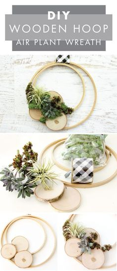 Don't you just love how unique this DIY Wooden Hoop Air Plant Wreath is?! When you're in need of a front door decoration to spruce up your curb appeal, this minimalist craft from Jo-Ann is sure to do the trick.