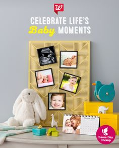 Share life's happy today with Same Day Pickup! Turn adorable baby photos into 4x4 framed magnets or a personalized 4x8 desktop calendar. Pick up today!