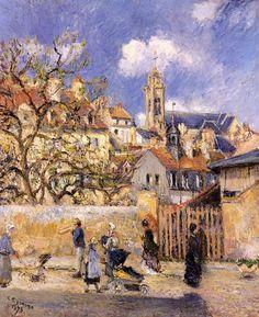 """Camille Pissarro (1830-1903) ~ """"Le Parc aux Charrettes, Pontoise"""", 1878 ~ Huile sur Toile (65.1 x 54 cm) ~ Collection Privée"""