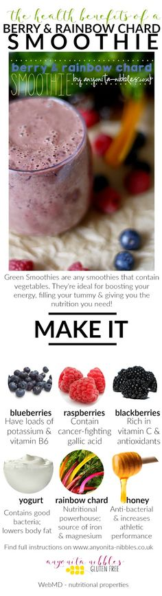 Health benefits of a berry and rainbow chard smoothie | Anyonita Nibbles