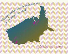 Best Friend Gift, Birthday, Long Distance Friendship Map, Going Away, Far Away Friend ,Long Distance Love,Long Distance Relationship