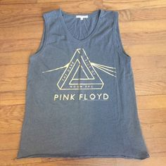 Pink Floyd Muscle Tank The Dark side of the Moon muscle tank top in dark gray with gold lettering from Urban Outfitters Junk Food Tops Tank Tops