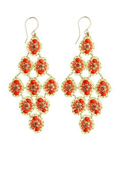 Opal Chandelier Earrings. Made from fire opal quartz and swarovski crystals.