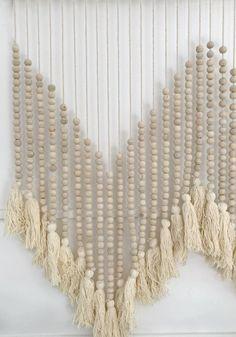 SHOP Boho Homewares at White Bohemian cabo gypsy beaded wall hanging Hanging Beads, Yarn Wall Hanging, Macrame Wall Hangings, Wood Bead Garland, Beaded Garland, Cuadros Diy, Crafts To Sell, Quick Crafts, Creative Crafts