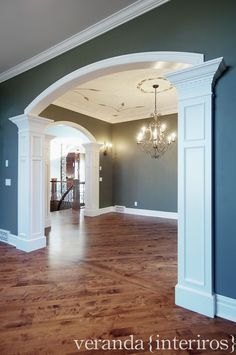 veranda interiors: Past work Heat registers on wall trim. Interior Columns, Home Interior Design, Interior Door, Interior Trim, House Front Design, Cool House Designs, Archway Decor, Veranda Interiors, Arch Doorway