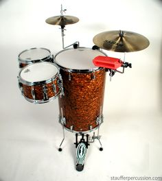 Cocktail Drum Kit - Stauffer Percussion - Copper Pearl.. I wouldn't mind having a lil set like this one