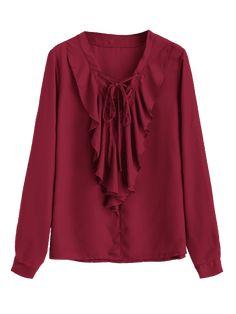 Ruffles Chiffon Lace Up Blouse - WINE RED XL