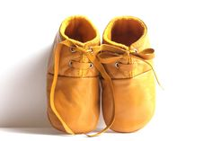 6-12 Months Slippers / Baby Shoes Lamb Leather Mustard