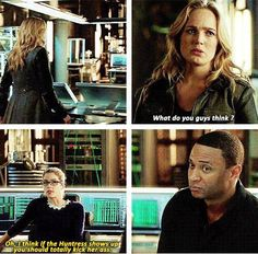 """Arrow - 2x17 Birds Of Prey -[gifset] - """"Oh, I think if the Huntress shows up you should totally kick her ass."""" - Sara, Felicity  Diggle - love the gif of Diggle nodding."""