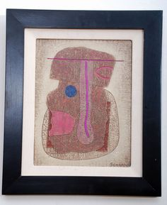 Jose Luis Serrano Abstract Painting Mix Media with COA, Mexican Modernist