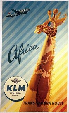 Retro poster from Dutch airline KLM inspiring travel. Vintage Labels, Vintage Travel Posters, Vintage Ads, Vintage Airline, Old Poster, Retro Poster, Travel Ads, Travel And Tourism, Air Travel