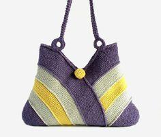 Fashion summer handbag, bag for beach, picnic bag, hand crochet bag, bag in lilac, light gray and sands yellow colors