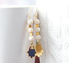 Hamsa Dangle Earrings - creamy white riverstone and hamsa hand charms by Atelier Yumi
