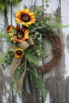 only thing different I would do is use fresh flowers! - Summer Wreath Sunflowers Fern Varigated by sweetsomethingdesign Wreath Crafts, Diy Wreath, Door Wreaths, Grapevine Wreath, Wreath Ideas, Burlap Wreath, Autumn Wreaths, Holiday Wreaths, Fake Flowers