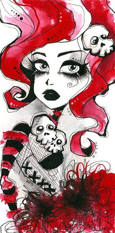 Red goth girl original watercolor illustration by KreepshowArt, $26.00
