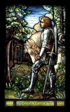 "Tiffany Studios, New York. ""Sir Galahad"", Cryder Memorial Window, before 1910. Leaded glass, 45 x 27 1/4 inches St. Andrew's Dune Church, Southampton, New York. Courtesy of St. Andrew's Dune Church; Photo by Richard Goodbody, Inc."