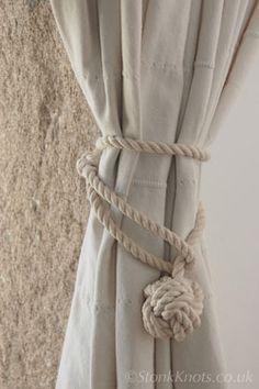 Monkey Fist Curtain Tie Backs In Hemp Rope Long Drop In