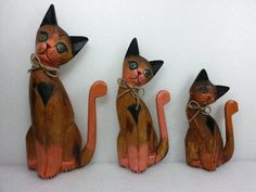 Vintage Hand Crafted Cat Family Wood Figurines via Etsy