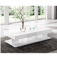 Verona Extendable High Gloss Coffee Table In White