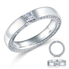 New Princess cut CZ Swarovski Cubic Zirconia Sterling Silver Ring by CubicZirconiaRings, $44.95