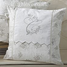 Crisp white cotton cover with French grey trim. Embroidery, monogram and pretty lace detail. A lovely addition to your shabby chic home. All our monogram cushion covers now come with poly pad insert…A massive saving of Shabby Chic Cushions, Vintage Cushions, Decorative Cushions, Patchwork Cushion, Embroidered Cushions, Quilted Pillow, Sewing Pillows, Diy Pillows, Lace Pillows