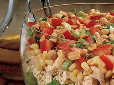 Just 15 minutes is needed to layer ingredients that toss into a delicious chicken salad with a gingery dressing.