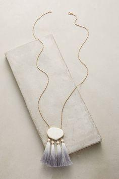 Anthropologie Howlite Tassel Pendant Necklace