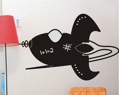 Love this rocket decal for decorating the walls of a boys bedroom or playroom! Discover more kids room decorating and organizing tips and ideas @ http://kidsroomdecorating.net
