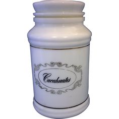 Milk Glass Canister Jar Cachauates Gold Decoration