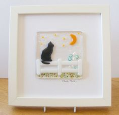 Fused Glass Wall Art Framed Picture  Black Cat by Jewlls4u on Etsy, $65.00