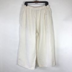 e51ae7632587c Flax Womens Size Large Pants Wide Leg Cropped Goucho Ivory Pull On  Lagenlook  FLAX