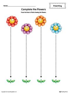 **FREE** Straight Line Tracing Prewriting Flower Worksheet in Color Worksheet.Trace the lines to finish drawing the flowers in this  color printable worksheet.