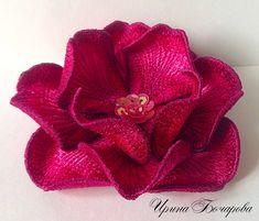 Machine Embroidery Design 3D flower brooch Floral by BirochkaEmb