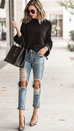 3b409ee417 Trendy leopard print heels and distressed denim jeans with cute black  sweater.