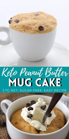 Low Carb Desserts, Low Carb Recipes, Microwave Desserts, Low Carb Mug Cakes, Keto Mug Cake, Mug Recipes, Sugar Free Desserts, Vegetarian Recipes, Dessert Recipes