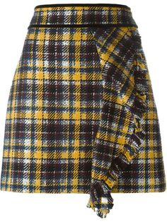 MSGM Front Ruffle Checked Skirt. #msgm #cloth #skirt