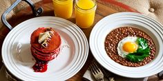 Blackberry Farm: Breakfast in Bed; sea island peas with jowl bacon and farm eggs & red velvet griddlecakes