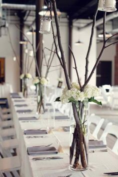 Love these They are so romantic easy to do and can be changed for any style wedding/event. I think paint the sticks black and replace the white with red!