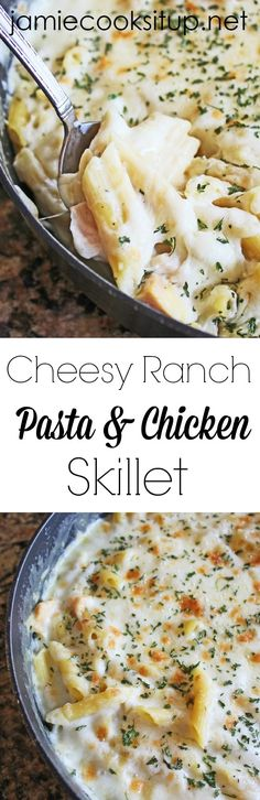 Cheesy Ranch Pasta and Chicken Skillet from Jamie Cooks It Up!