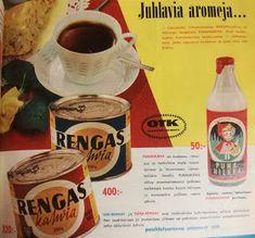 Vanhat suomalaiset peltipurkit: OTK:n Rengas kahvi-purkit A&w Root Beer, Old Ads, Soda, Beverages, Canning, Nostalgia, Beverage, Soft Drink, Old Advertisements